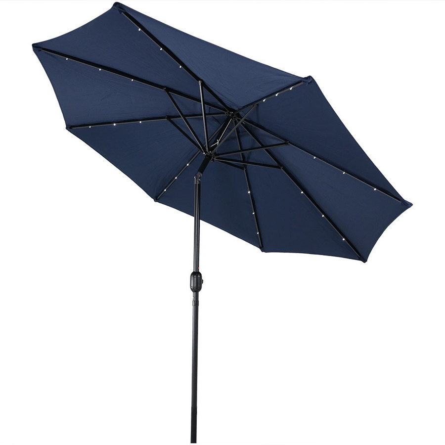Blue Led Umbrella: Sunnydaze Solar-Powered Patio Umbrella With LED Lights