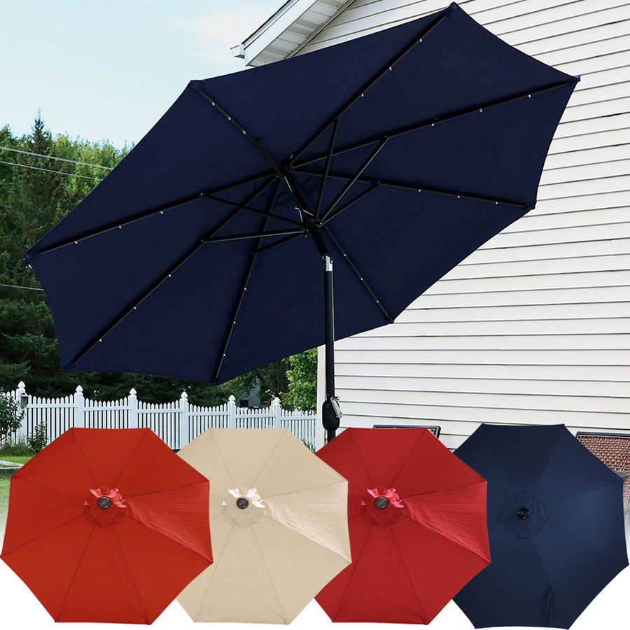 Sunnydaze Solar Powered LED Lighted Patio Umbrella With Tilt U0026 Crank, ...