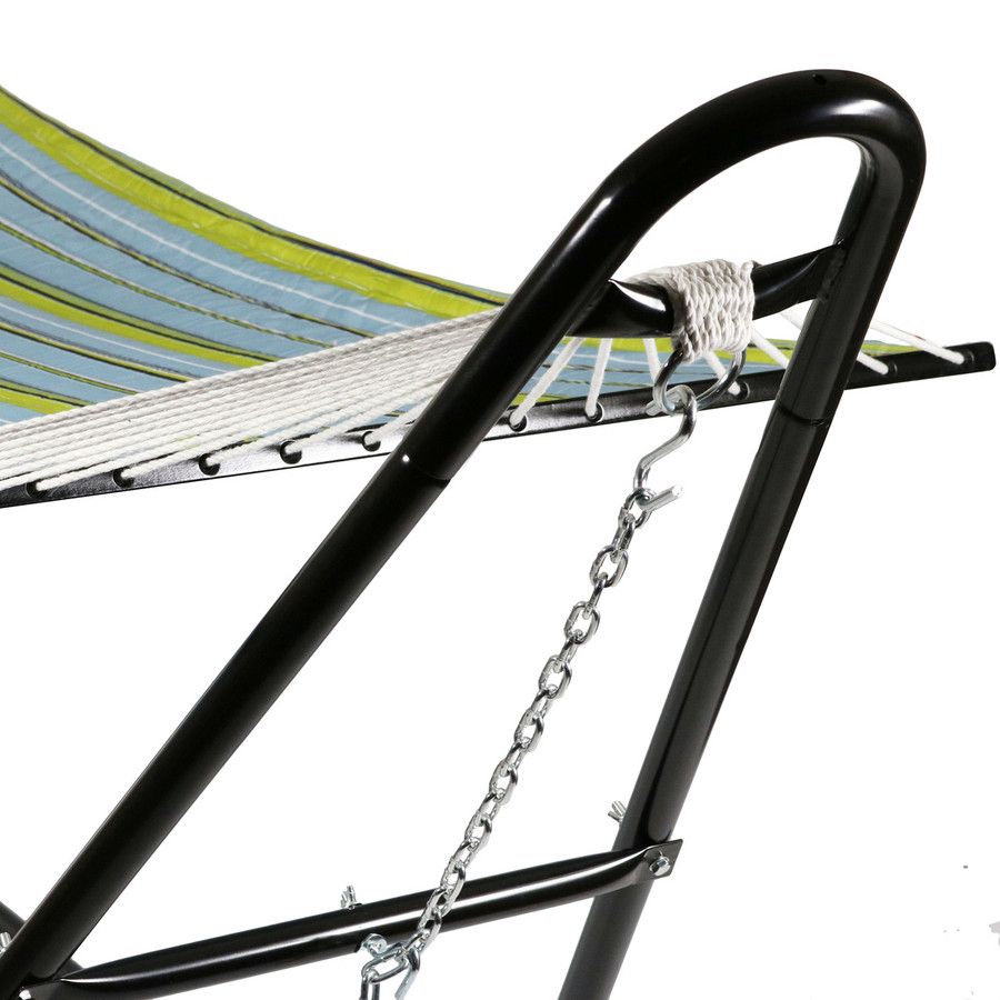 Sunnydaze Quilted Double Fabric 2-Person Hammock with Multi-Use Universal Steel Stand, Blue and Green, 440 Pound Capacity