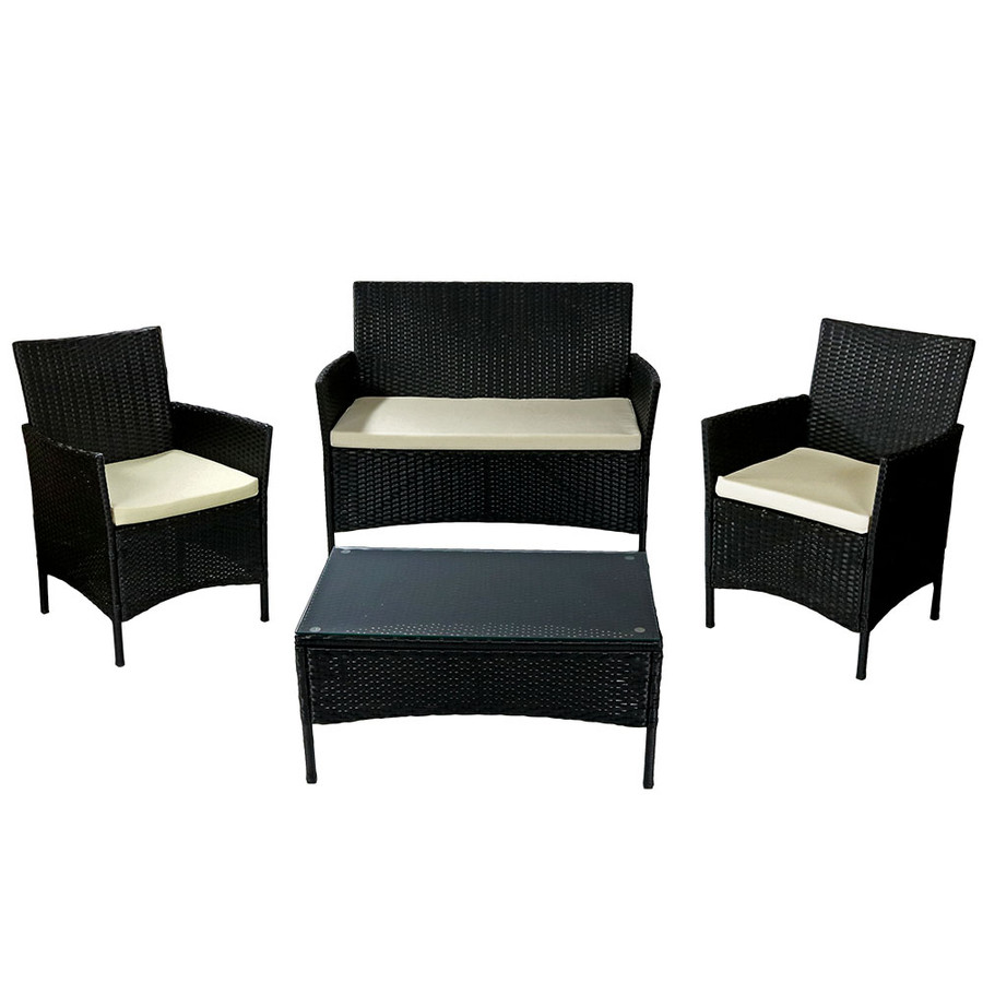 Sunnydaze Adelaide 4-Piece Rattan Patio Furniture Set with Cream Cushions