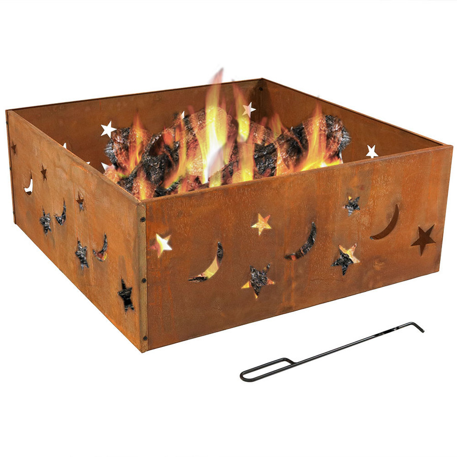 Rustic Stars and Moon Square Fire Pit Ring