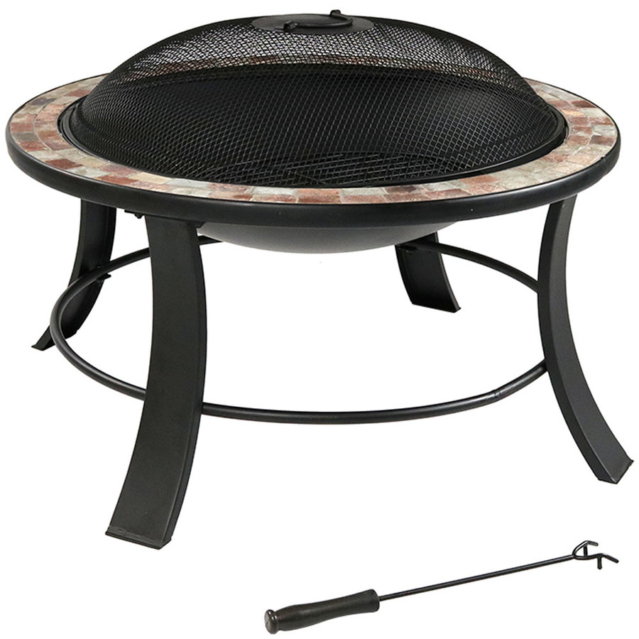 Sunnydaze 30 Inch Natural Slate Fire Pit Table with Spark Screen