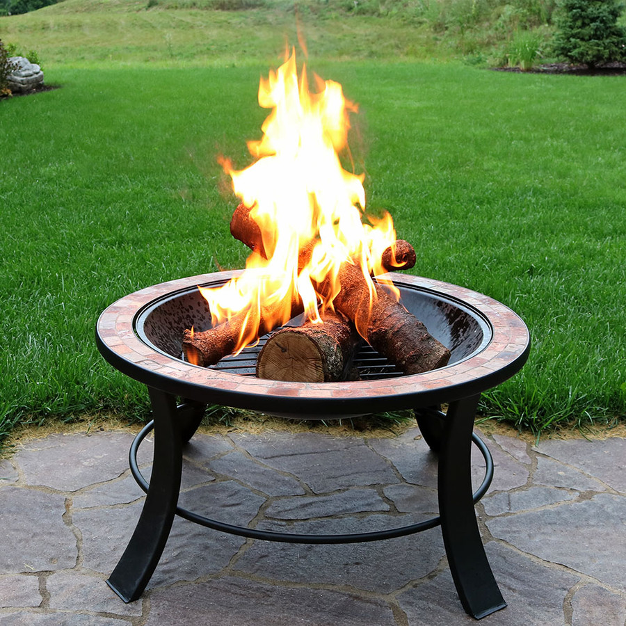 "30"" Natural Slate Fire Pit Table, Lid Off"