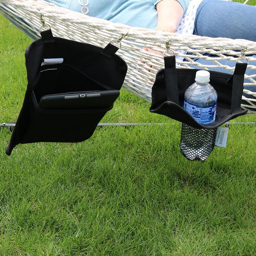 Sunnydaze Hanging Drink and Tablet Holder Set for Rope Hammocks