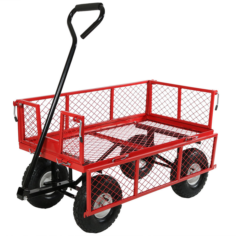 Red Cart with One Side Folded Down
