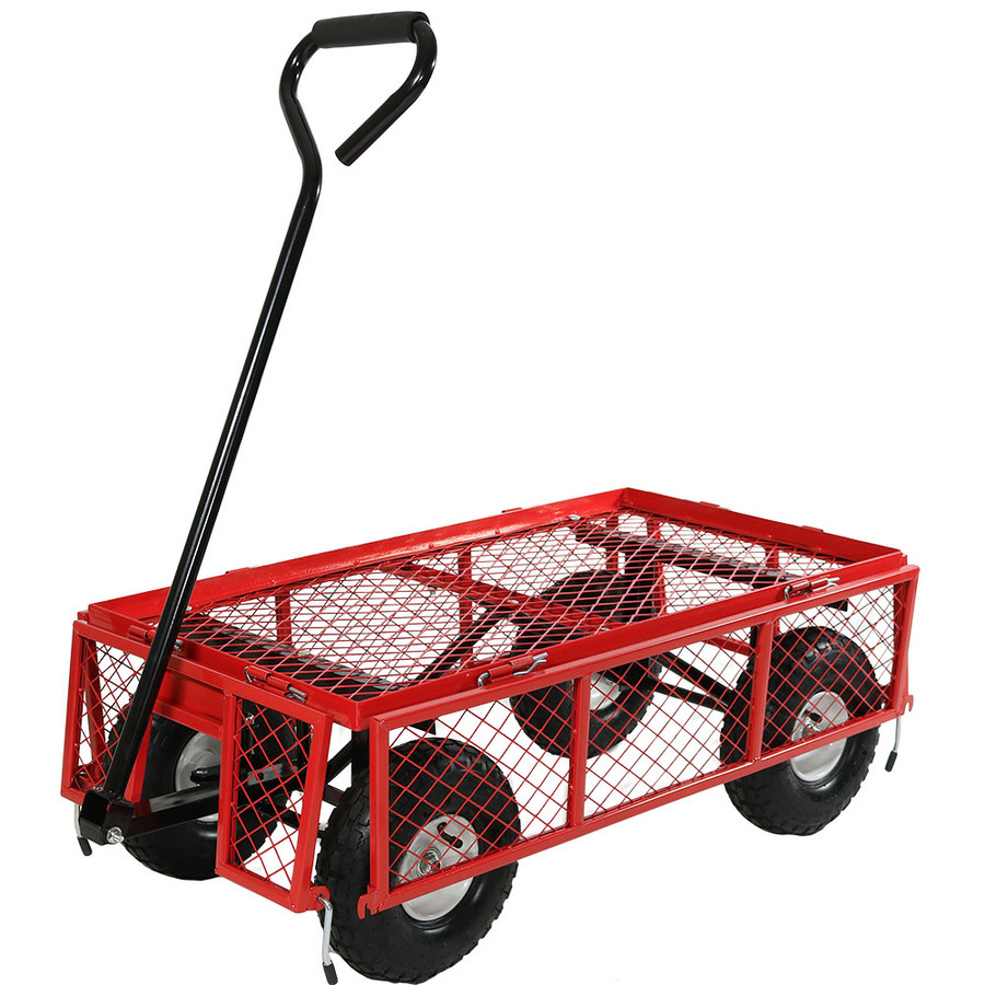 Red Cart with All Sides Folded Down