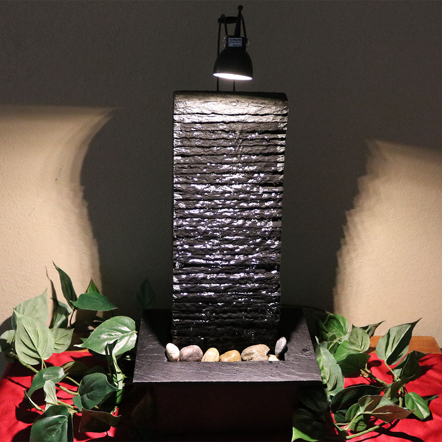 Crest Slate Tabletop Water Fountain Evening View