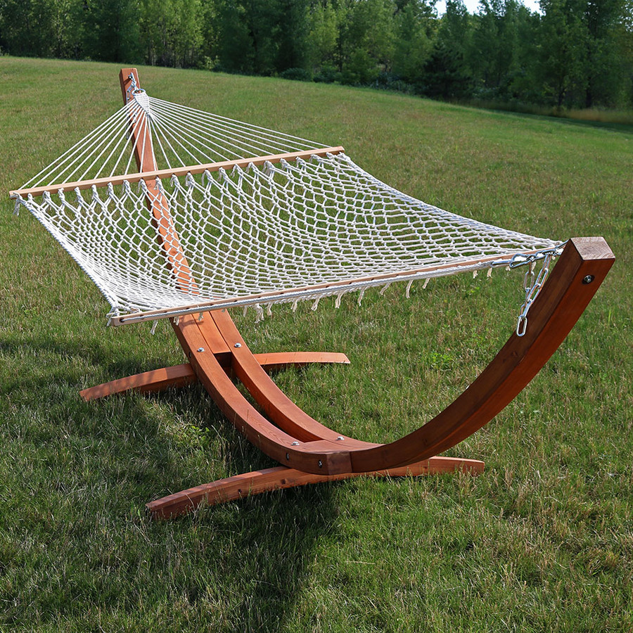 Sunnydaze Cotton Double Wide 2-Person Rope Hammock with Spreader Bars and 13 Foot Curved Arc Wood Stand