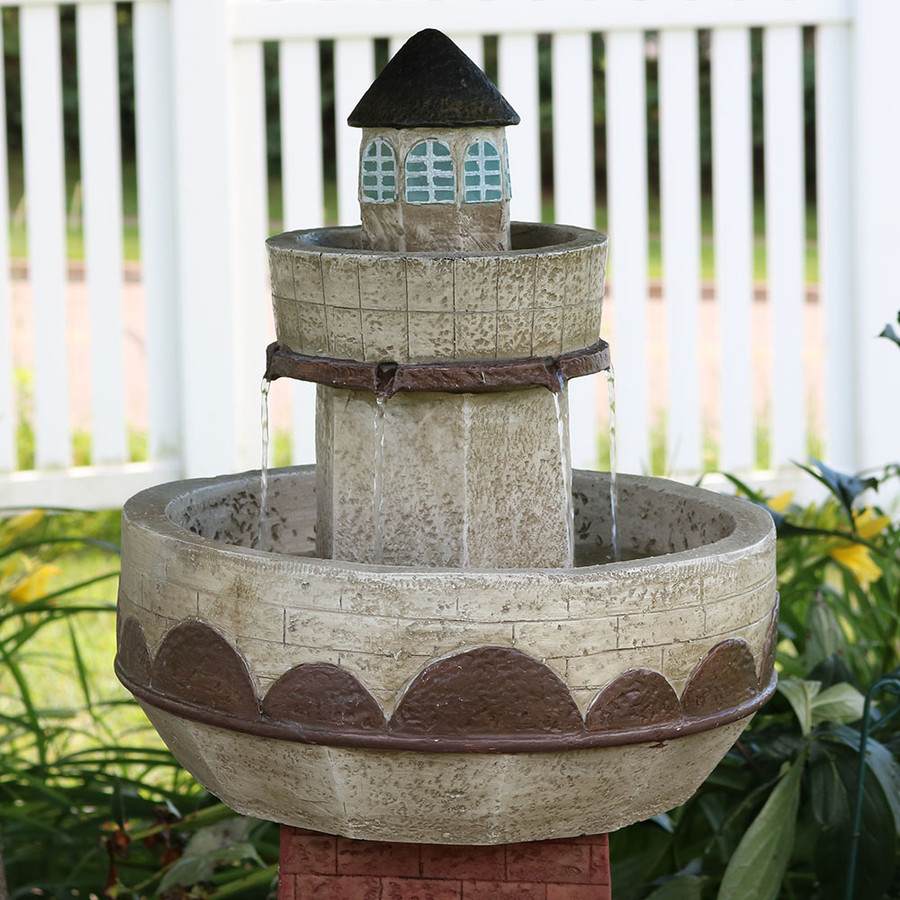 Sunnydaze 36 Inch Brick Lighthouse Outdoor Water Fountain with LED Light