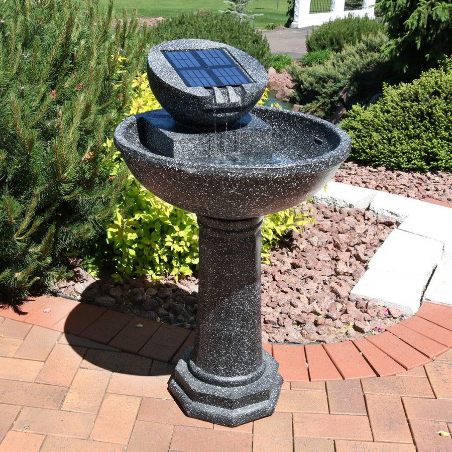 Sunnydaze Modern Solar Birdbath Outdoor Water Fountain, 36 Inches Tall, Includes Solar Pump and Panel