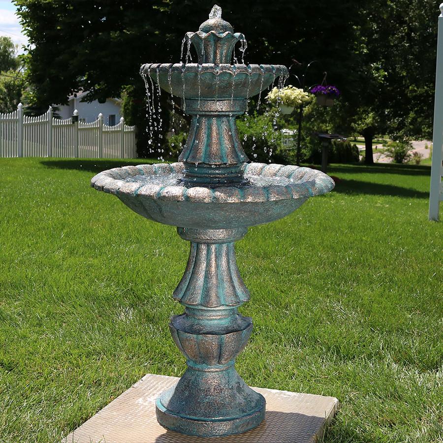 """Small Fountain Outdoor: Sunnydaze 41"""" Nouveau Tiered Garden Water Fountain"""
