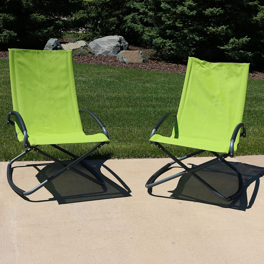 Green Folding Rockers, Set of 2