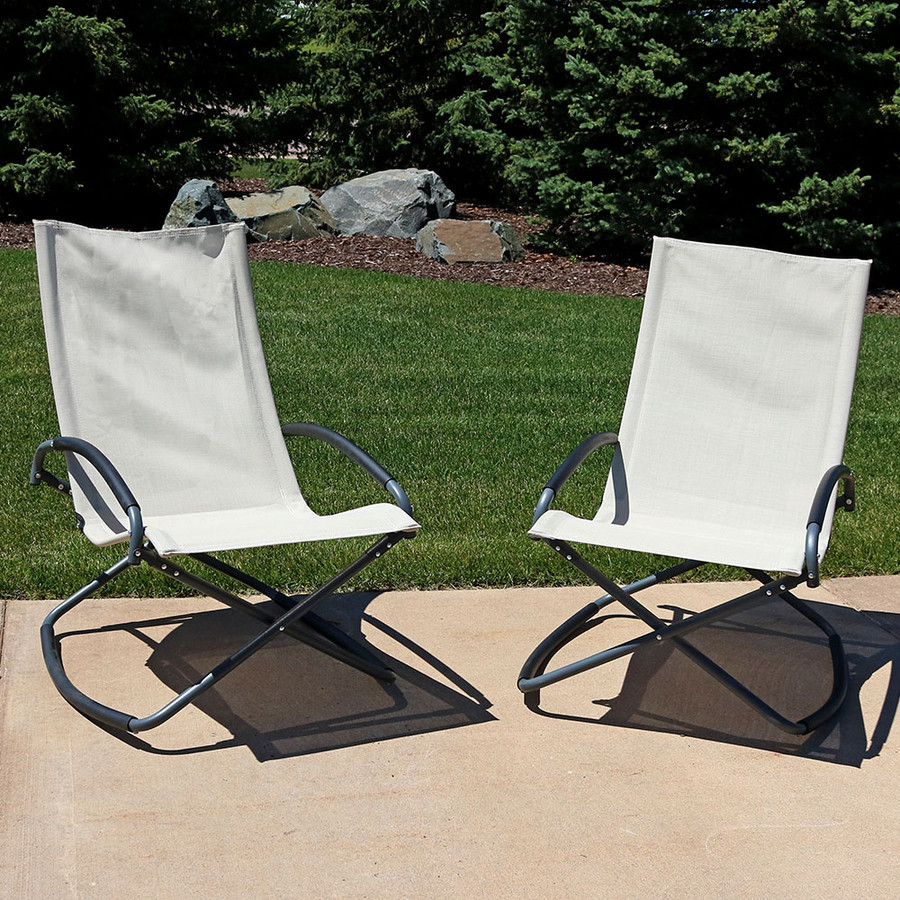 Beige Folding Rockers, set of 2