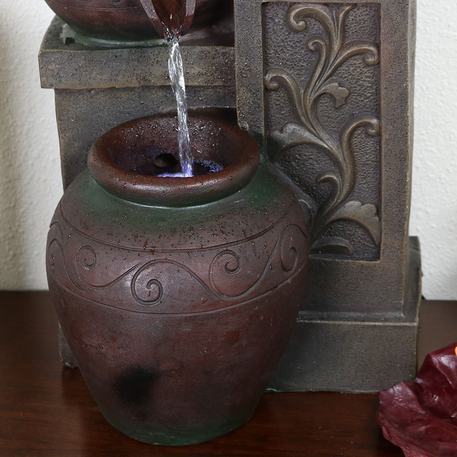 Sunnydaze Tiered Pottery Tabletop Water Fountain with LED Lights