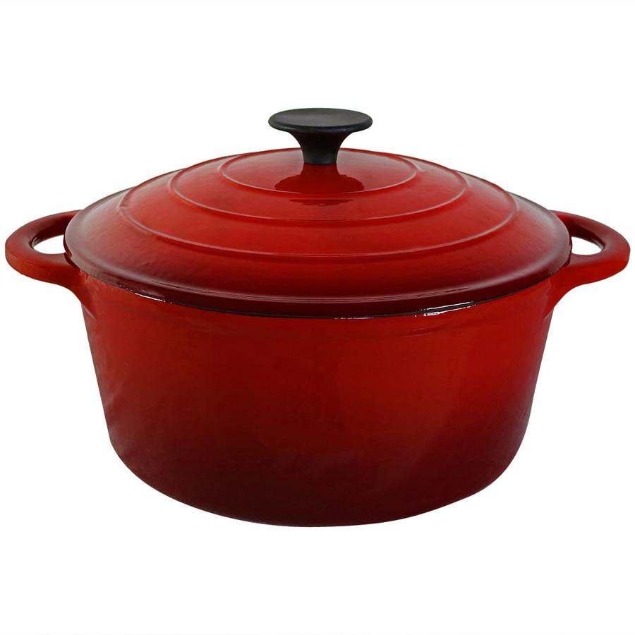 Red Enamel Coated Cast Iron Pot