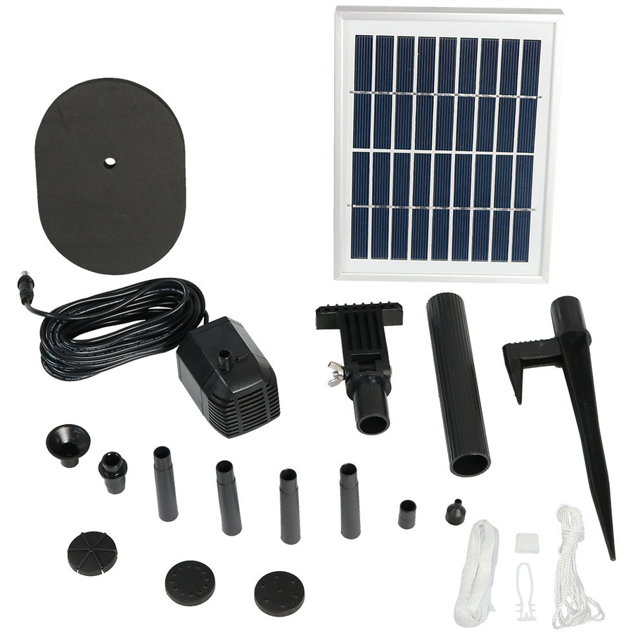 Sunnydaze Solar Pump and Solar Panel Kit with 4 Spray Heads, 36-Inch Lift, 66 GPH