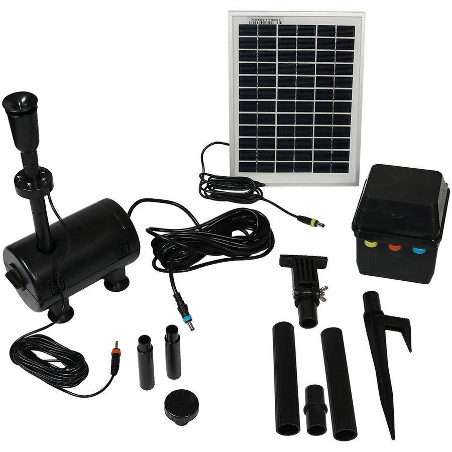 Sunnydaze Solar Pump and Solar Panel Kit With Battery Pack and LED Light, 132 GPH, 56-Inch Lift