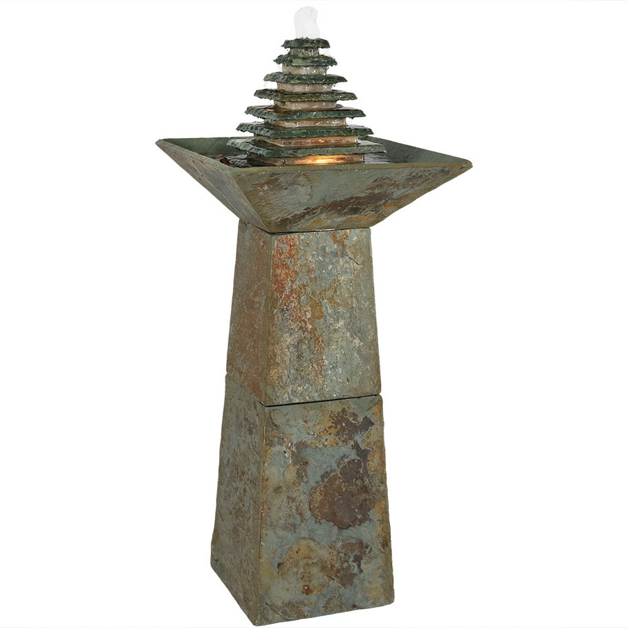 Layered Slate Pyramid Outdoor Water Fountain with LED Light