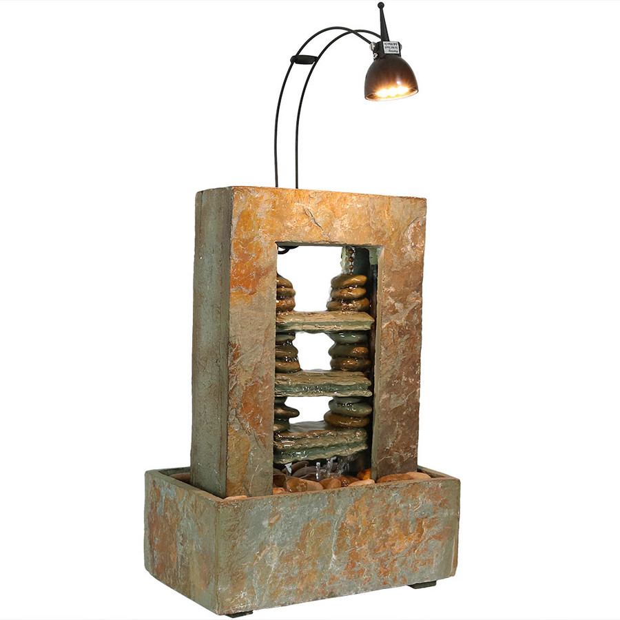 Rock Towers Slate Indoor Tabletop Water Fountain with LED Spotlight
