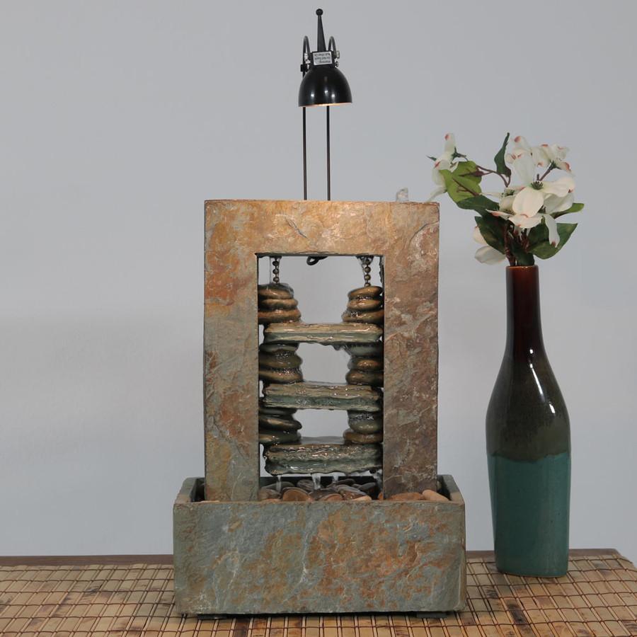 Small Decorative Spotlight: Sunnydaze Rock Towers Slate Indoor Tabletop Water Fountain