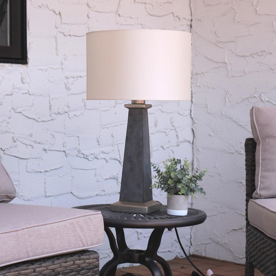 Sunnydaze Indoor/Outdoor Modern Concrete Pillar Table Lamp, 27 Inch Tall