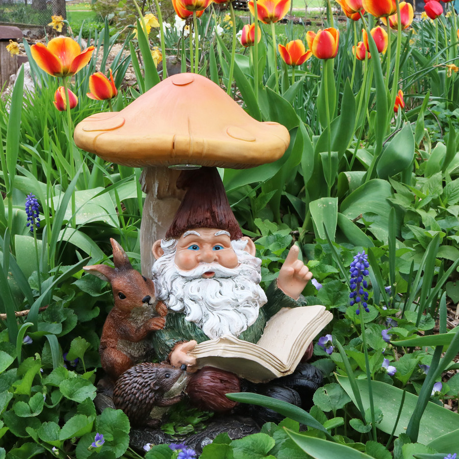 Sunnydaze Book Worm Bernard the Outdoor Garden Gnome with Mushroom and Solar Light