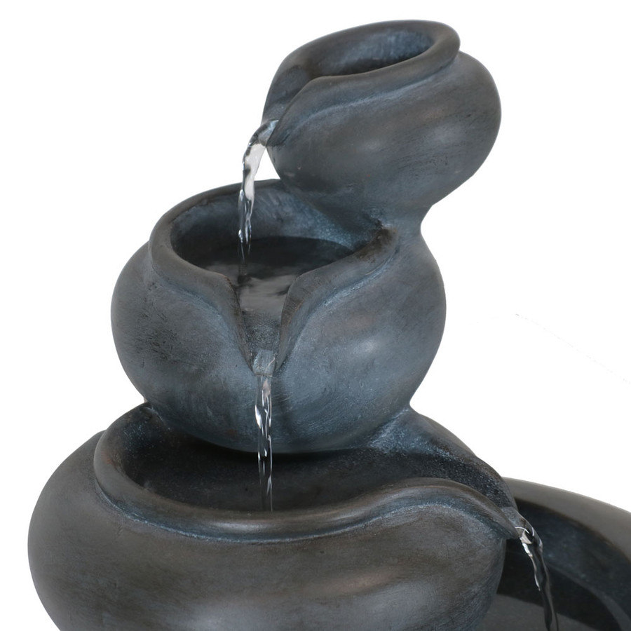 Sunnydaze 4-Tier Flowing Clay Bowls Indoor Tabletop Water Fountain, 9.5 Inch Tall, Includes Electric Submersible Pump