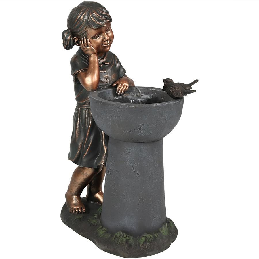 Little Girl Admiring Water Spout Outdoor Garden Water Fountain