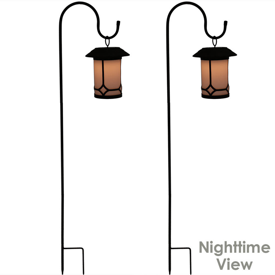 Traditional Outdoor Hanging Solar Lantern With Shepard Hook - Set of Two - Lighted