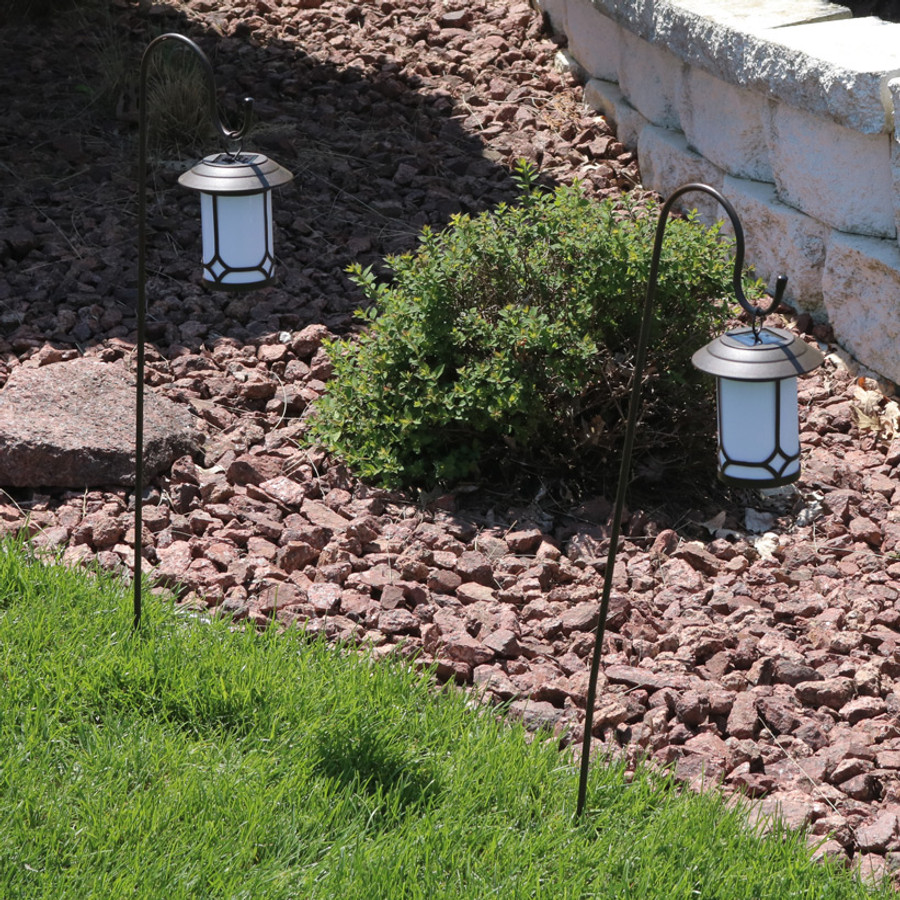 Sunnydaze Traditional Outdoor Hanging Solar Lantern With Shepherd Hook - Set of Two