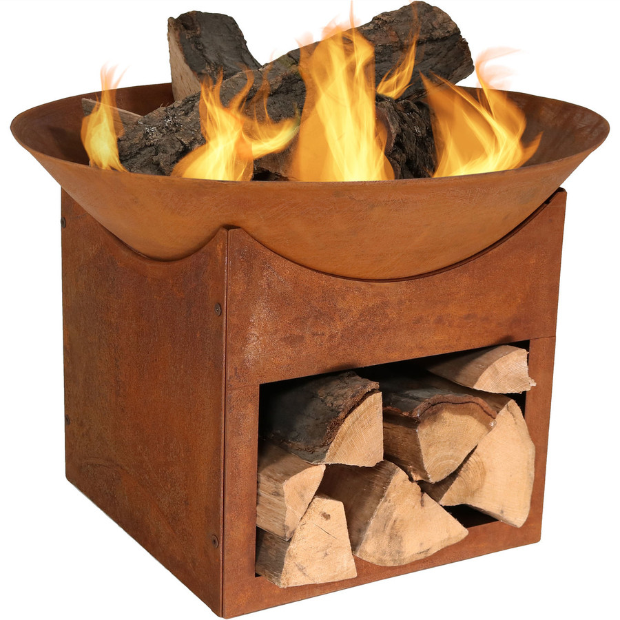 Fire Pit with Fire and Log Holder with Kindling