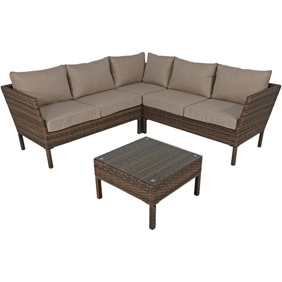 Avel Wicker Rattan 4-Piece Sofa Sectional Patio Furniture Set