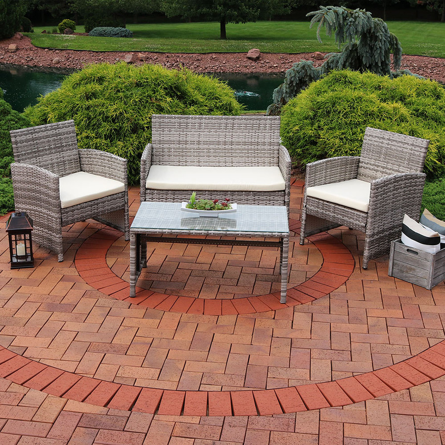 Lomero 4-Piece Lounger Patio Furniture Set with Brown Wicker and Beige Cushions