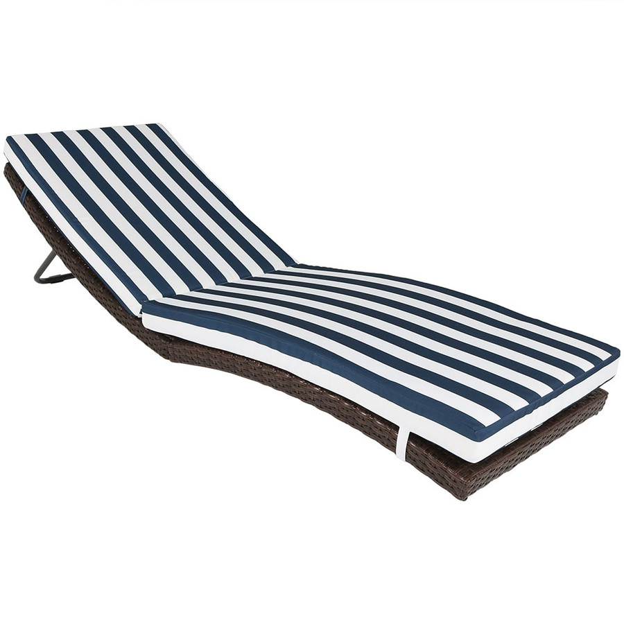 Maui Folding Wicker Rattan Sun Lounger with Blue Stripes
