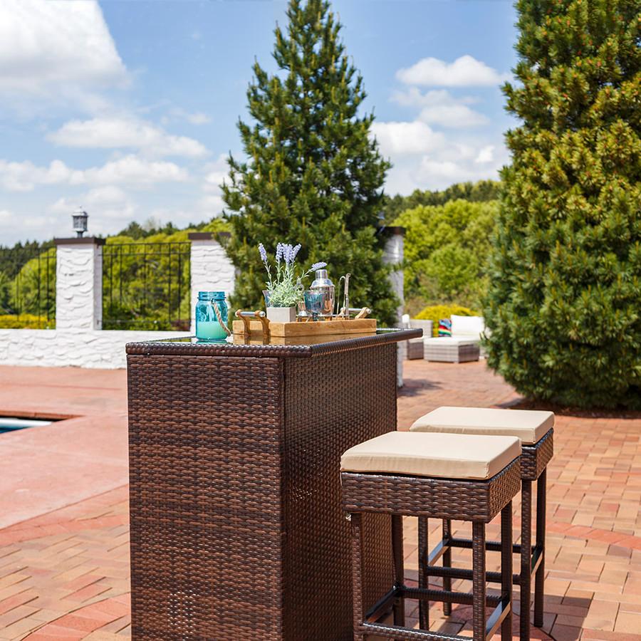 Melindi 3-Piece Outdoor Patio Bar Set with Tan Cushions
