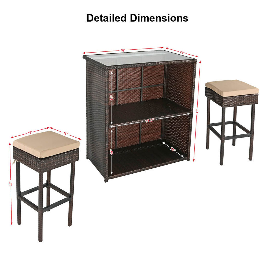 Dimensions with Tan Cushions
