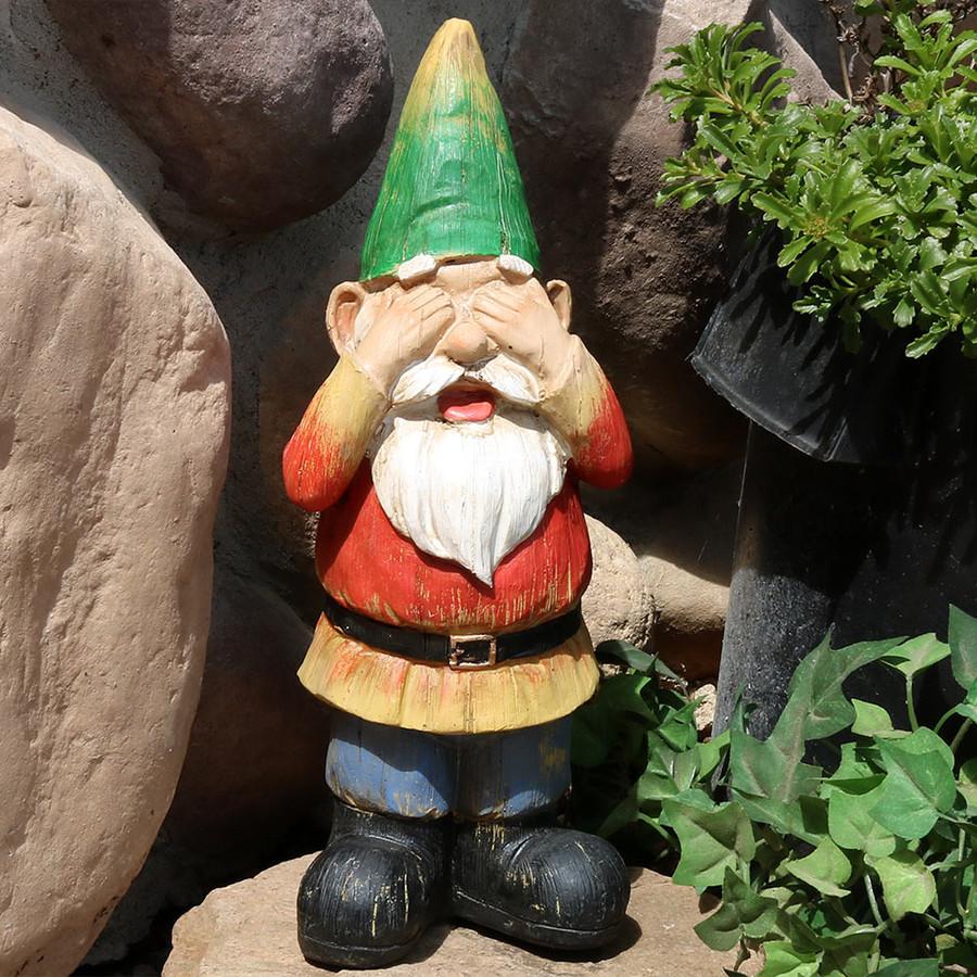 Sunnydaze Steven Sees No Evil Garden Gnome, 12 Inch Tall