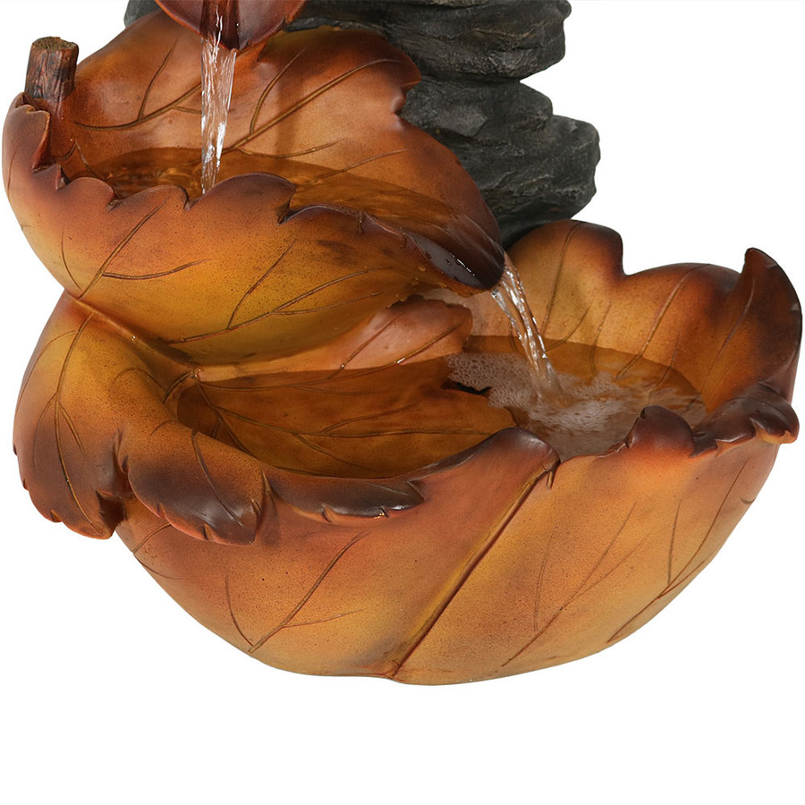 Sunnydaze Maple Leaf Indoor/Outdoor Water Fountain, 18 Inch Tall