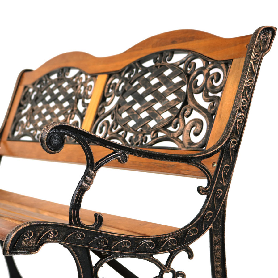 Sunnydaze 2-Person Outdoor Bench, Cast Iron and Wood with Ivy Crossweave Design, 49-Inch
