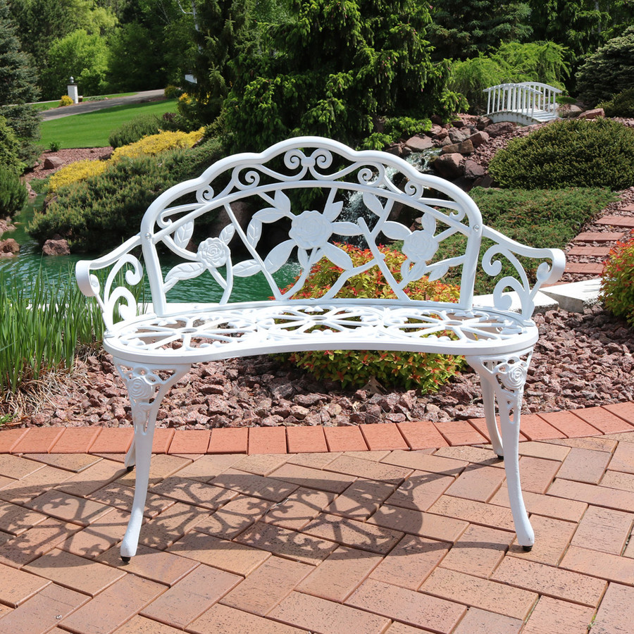 Sunnydaze 2-Person Cast Aluminum Classic Rose Garden Bench, White