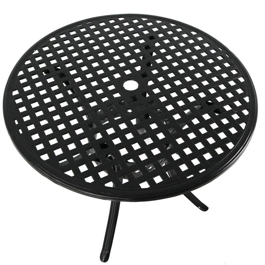 Sunnydaze Black Cast Aluminum Round Dining Table, 33-Inch