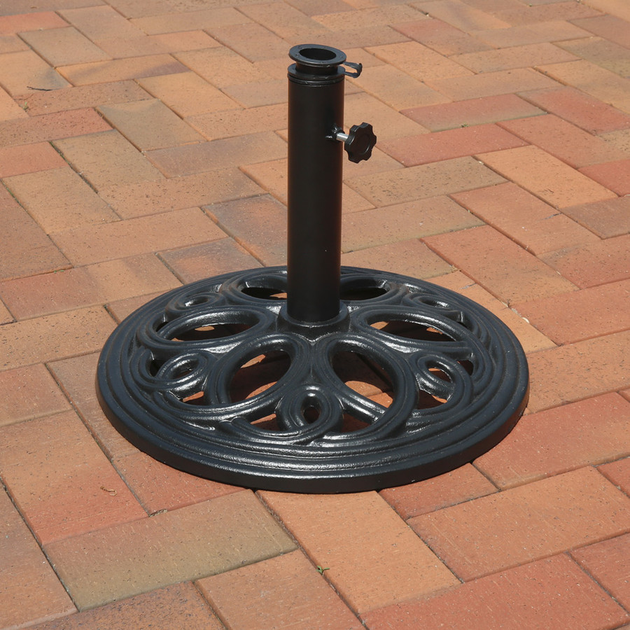 Sunnydaze Heavy-Duty Cast Iron Outdoor Umbrella Base Stand, 18-Inch