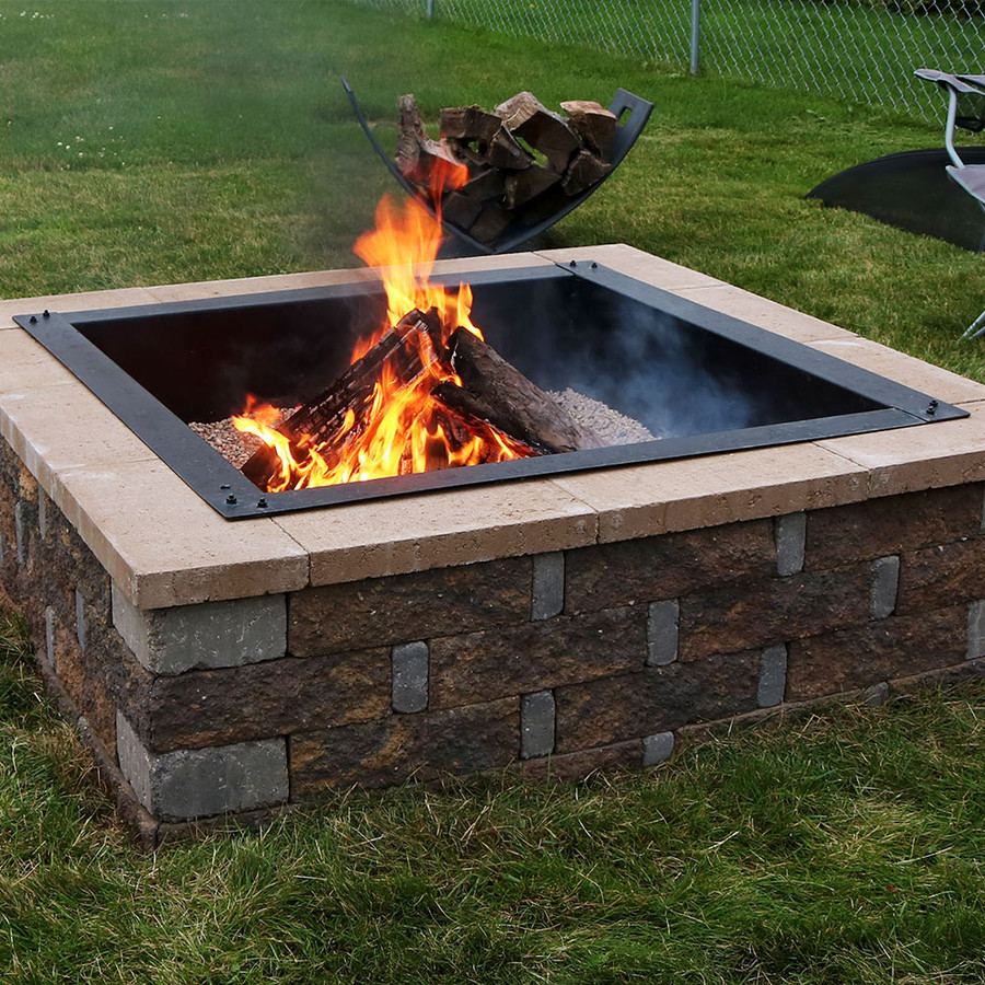 In Ground Firepit: Sunnydaze Decor Heavy-Duty Square Fire Pit Liner