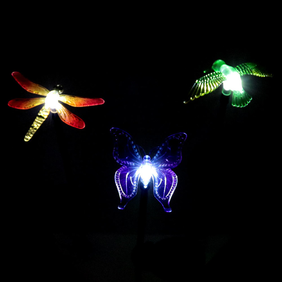 Solar Butterfly, Dragonfly, Hummingbird Stake LED Light s at Night