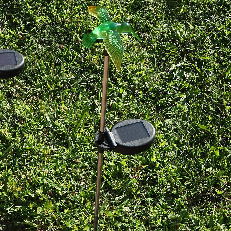Sunnydaze Solar-Powered Butterfly, Dragonfly, and Hummingbird Garden Stake LED Light - Set of 6