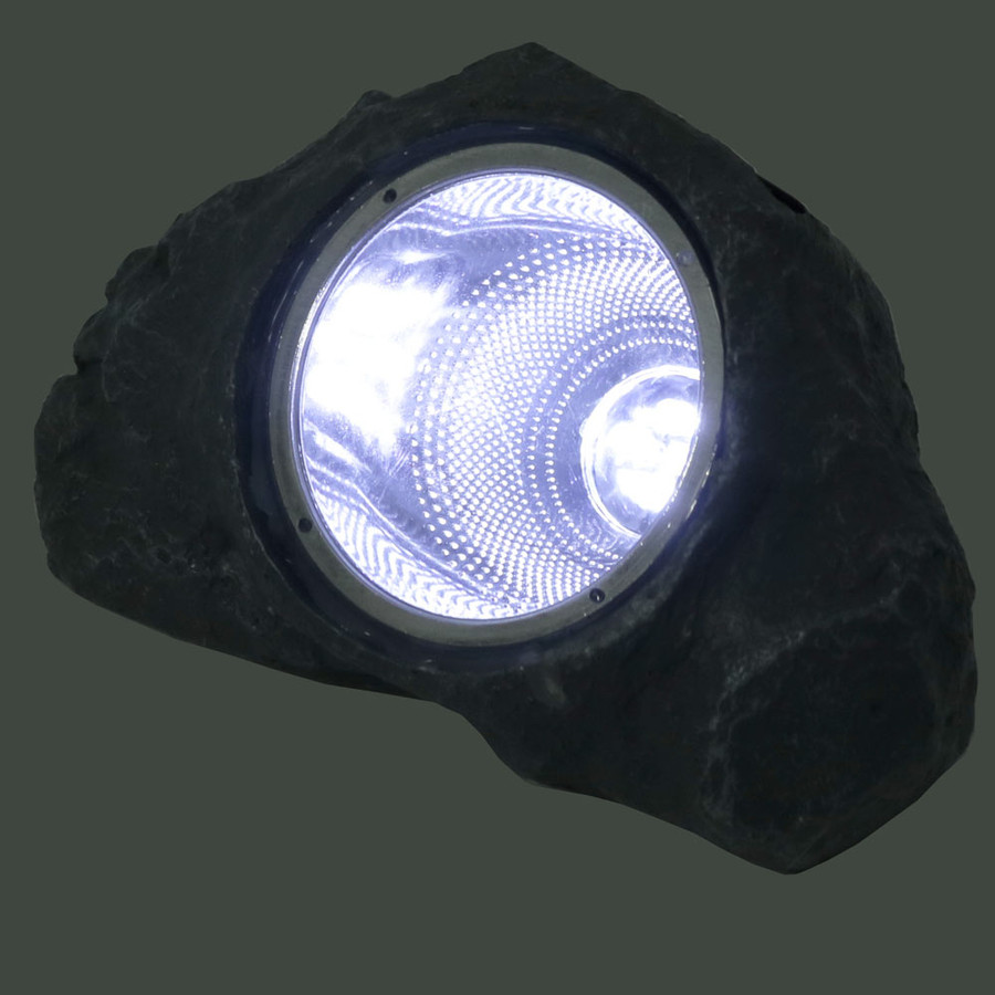 Small Rock With White Solar LED Light, Lighted