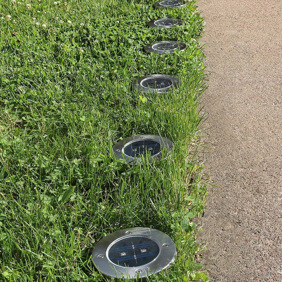 Sunnydaze LED Solar Garden Pathway Ground Lights for Home, Yard or Driveway - Set of 6