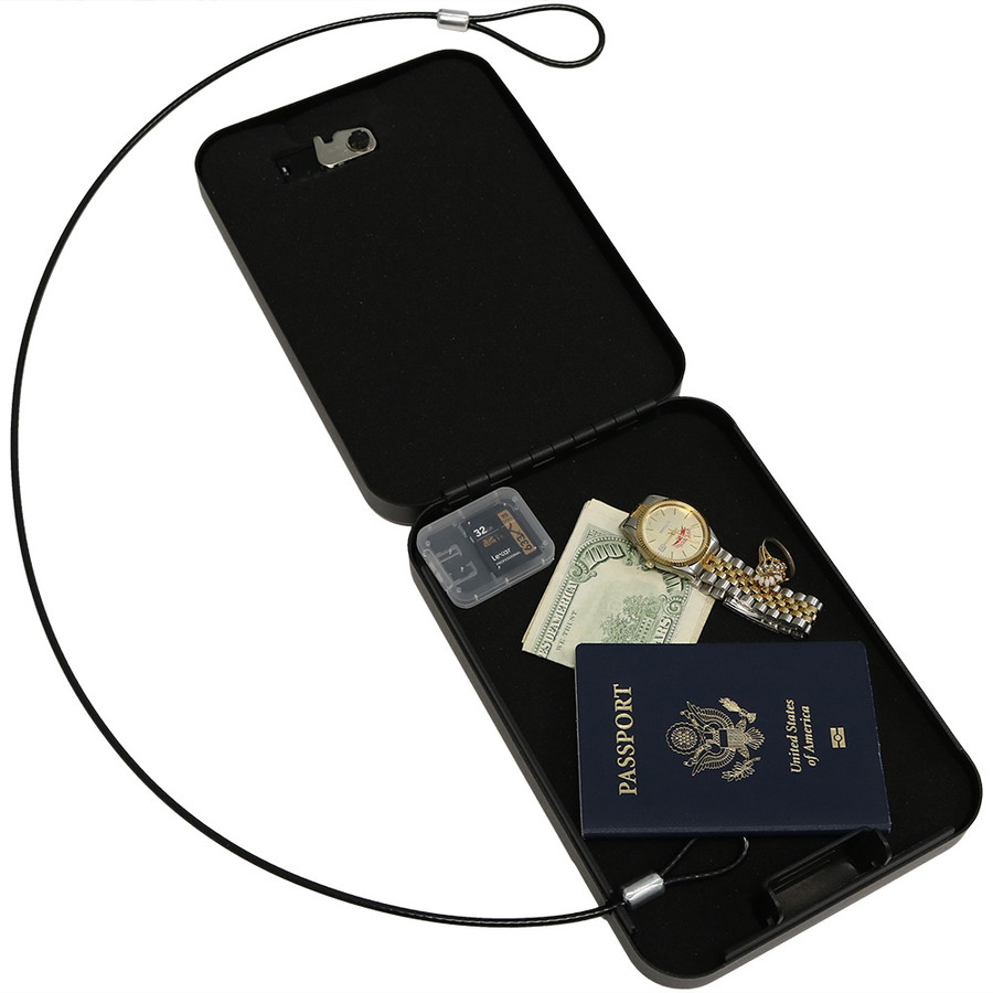 Sunnydaze Steel Combination Cable Lockbox Safe for Travel, Car or Home Use
