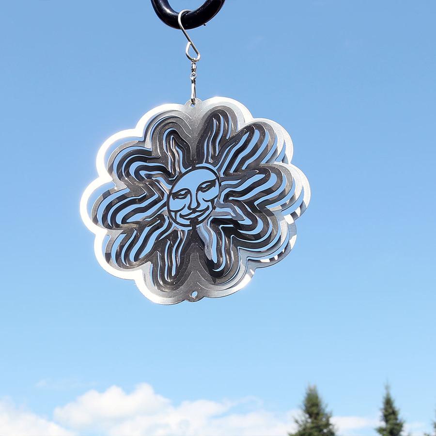 3D Silver Sun Wind Spinner
