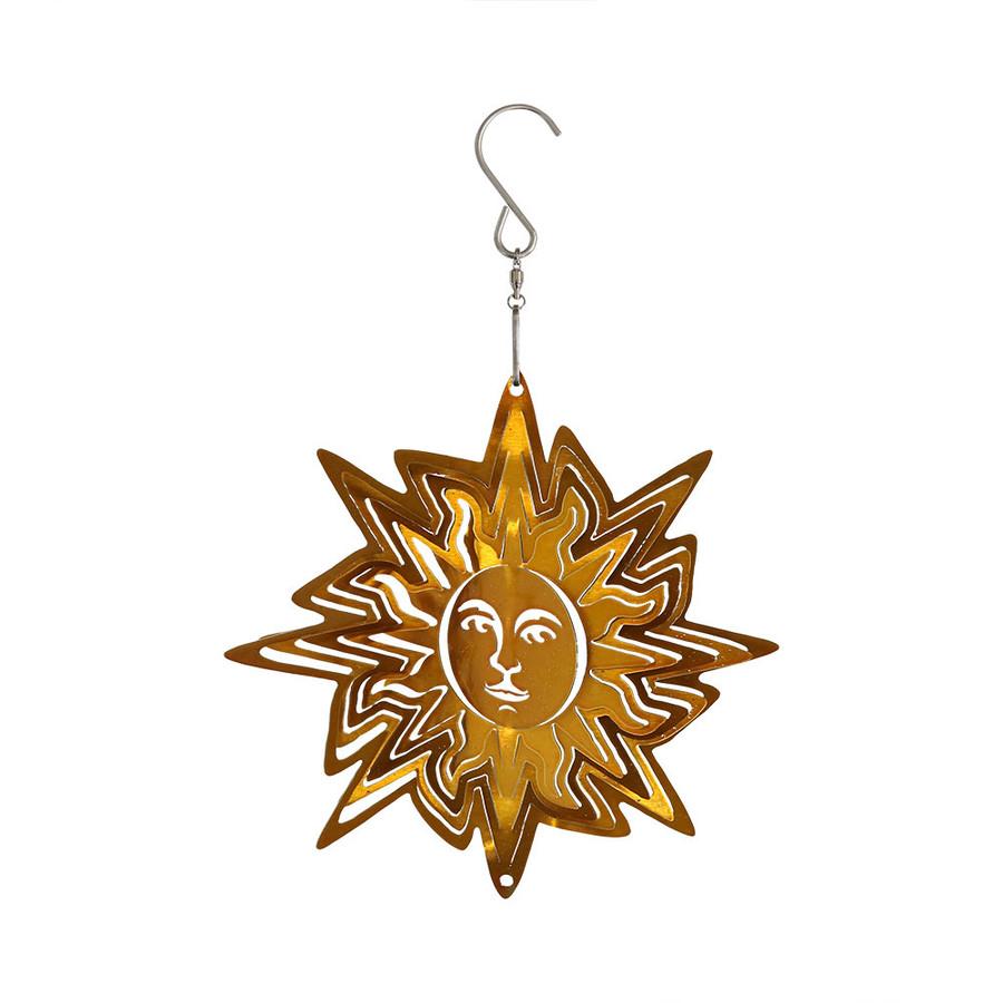 Sunnydaze Reflective 3D Gold Sun Whirligig Wind Spinner, 6-Inch